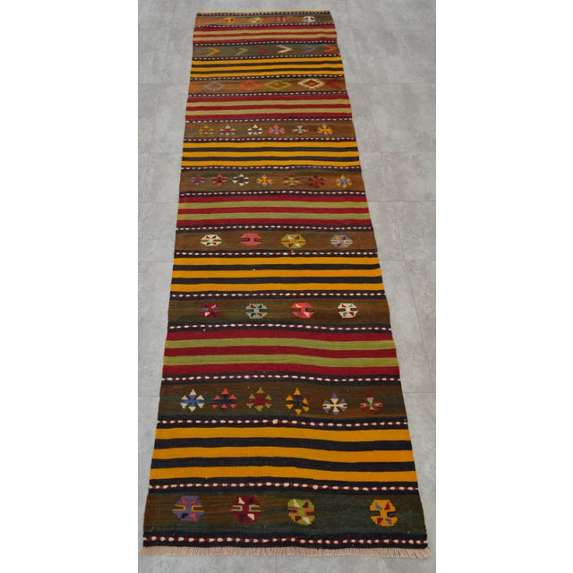 Islamic Turkish Kilim Hand Woven Wool Runner Rug - 2′6″ × 8′8 For Sale - Image 3 of 8
