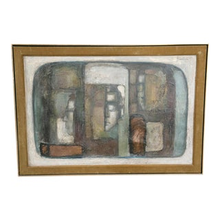 Mid-Century Abstract Cubist Painting For Sale