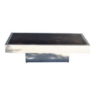 Italian Willy Rizzo Style Chrome Steel & Brown Cloudy Glass Coffee Table 1970 For Sale