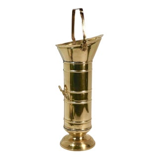 Vintage Brass Match Bucket/Kindling Holder For Sale