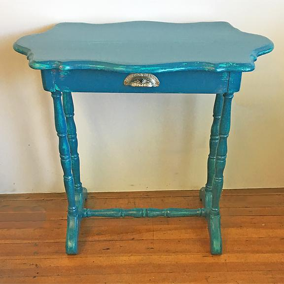 Bon Teal Blue Writing Desk Or Entry Table For Sale   Image 4 Of 10