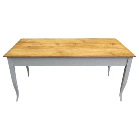 Antique French Dining Table in Pine With Waxed Top For Sale
