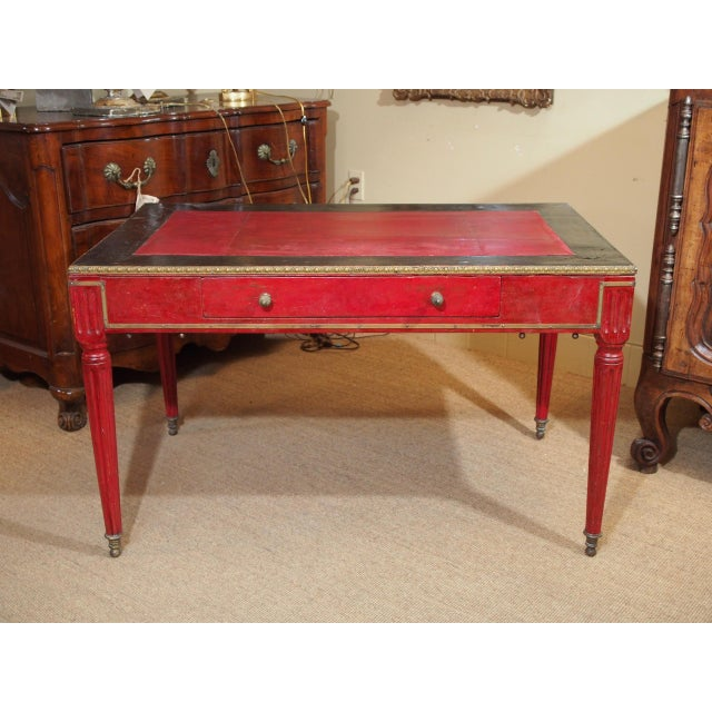 Vintage French Leather Writing Desk For Sale - Image 10 of 10