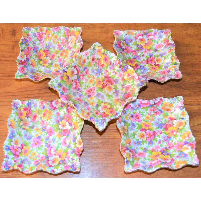 Pink Vintage James Kent DuBarry Square Floral Chinitz Plates - Set of 5 For Sale - Image 8 of 11