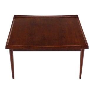 Square Rolled Solid Teak Edge Danish Modern Teak Coffee Table For Sale