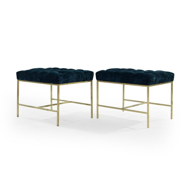 1950s Modern Tufted Brushed Brass Stools - a Pair For Sale In New York - Image 6 of 12
