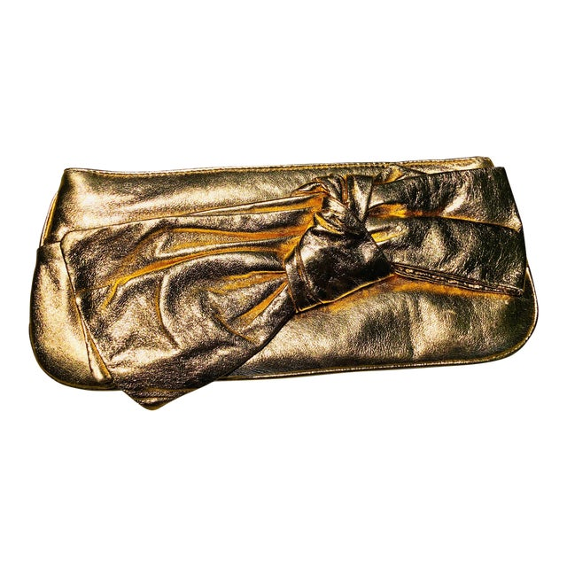 Lorelei Metallic Leather Gold Bow Clutch For Sale