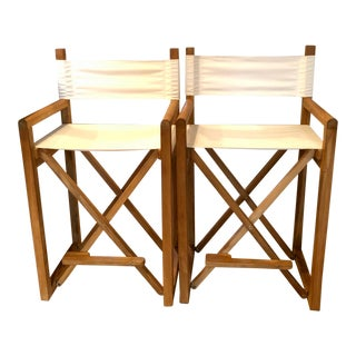 Modern Serena & Lily Director's Counter Stools- a Pair For Sale