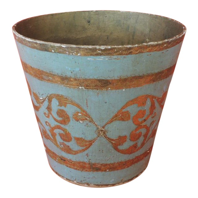 Vintage Florentine Turquoise and Gold Wastebasket For Sale