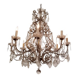 Large Beaded Italian Chandelier For Sale