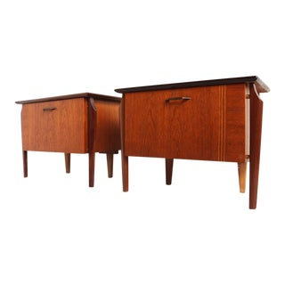Mid-Century Teak Inlaid Design Night Tables Nightstands - a Pair For Sale