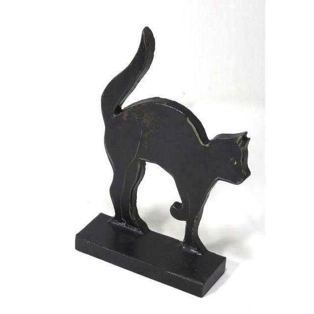 Figurative 1920s Black Halloween Cat Cast Iron Doorstop For Sale - Image 3 of 13
