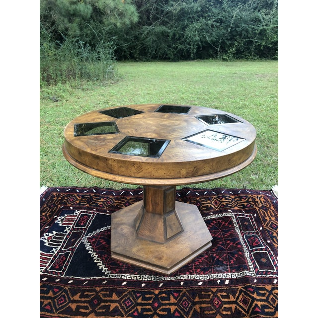 Mid Century Burlwood Pedestal Table With Inset Smoked Glass For Sale - Image 12 of 12