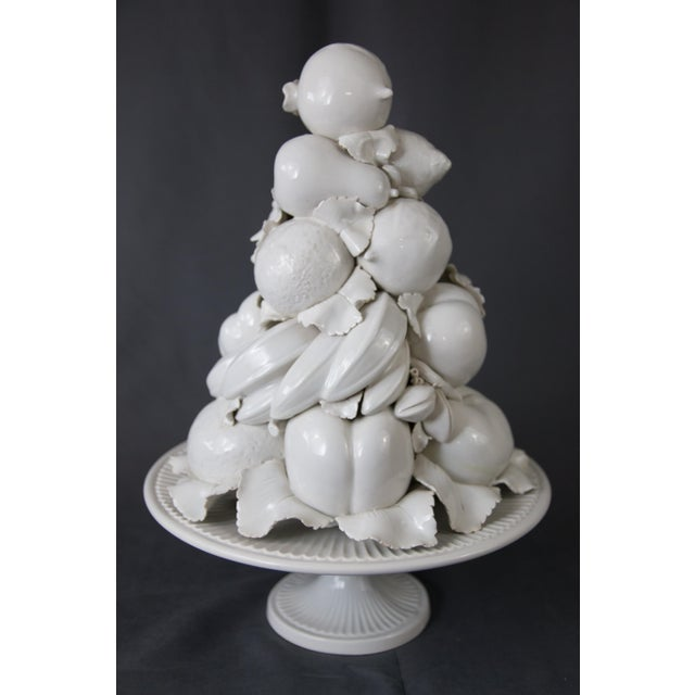 Ceramic Large Italian White Creamware Fruit Topiary Centerpiece For Sale - Image 7 of 13