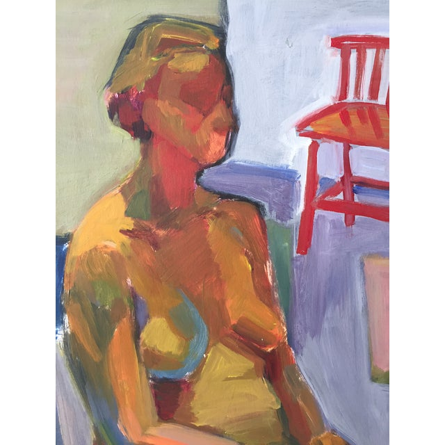 Original Abstract Painting of Seated Nude - Image 4 of 9