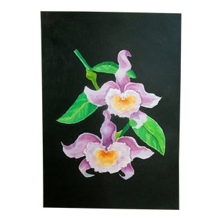 """French Exotic Lavender Tropical Dendrobium Orchid Painting - 11.5 14"""" For Sale"""