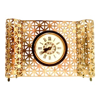 Mid-20th Century Bilt Rite American Art Deco Gilt Brass Electrical Clock For Sale