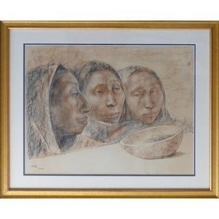 Charcoal & Pastel on Paper by Francisco Zúñiga (1912-1988) Signed 1964 For Sale