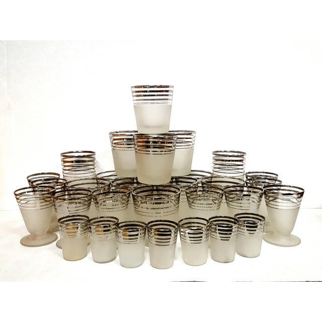 Art Deco Frosted With Silver Rings Barware Glass Set 1930's For Sale In Los Angeles - Image 6 of 6