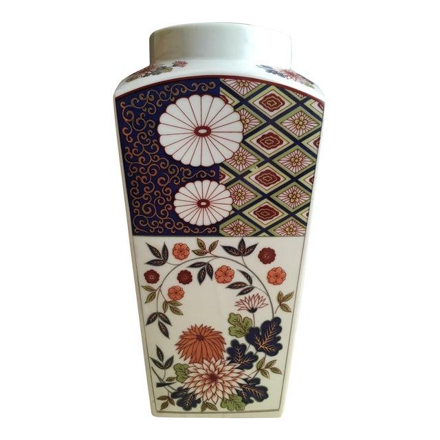 Vintage Flower Plaid Art Design Vase For Sale