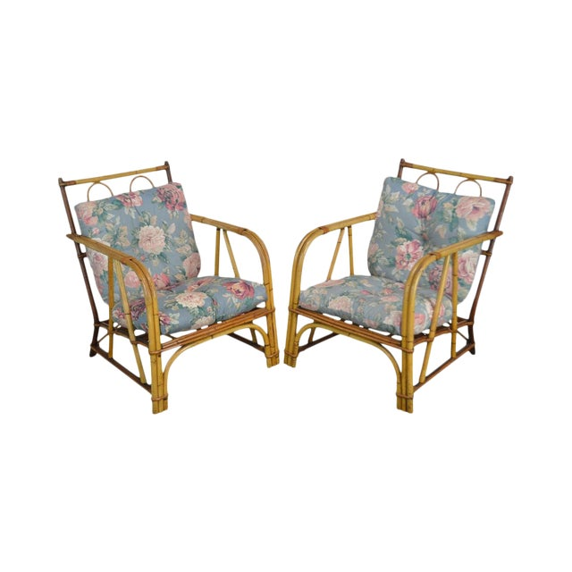 Ward Wicker Vintage Antique Pair of Split Reed Rattan Lounge Chairs For Sale