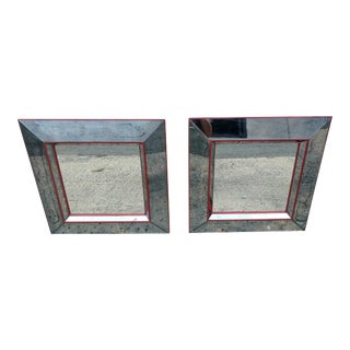 Square Antiqued Mirrors - a Pair For Sale