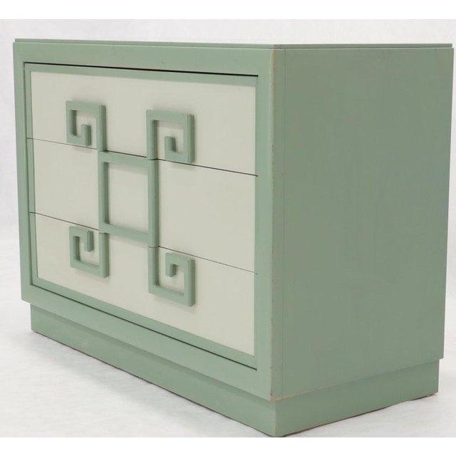 Kittinger Kittinger Mandarin Style Bachelor Chest Dresser Blue and White Lacquer For Sale - Image 4 of 12