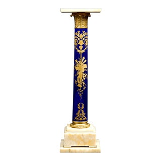 Sevres Style Porcelain and Onyx Pedestal For Sale
