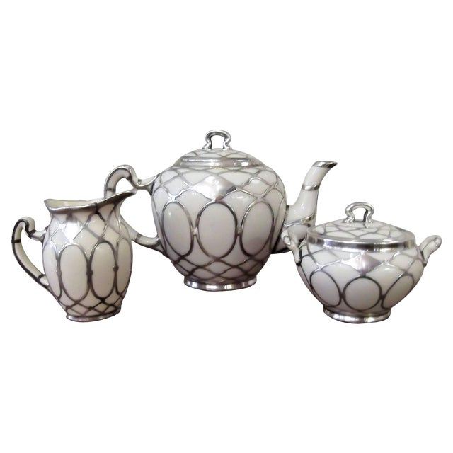 Sterling Silver Overlay Tea Service, Circa 1910 - Set of 3 For Sale