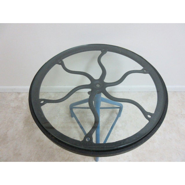 Industrial Antique Industrial Gear Metal Tripod Lamp End Table Stand For Sale - Image 3 of 11