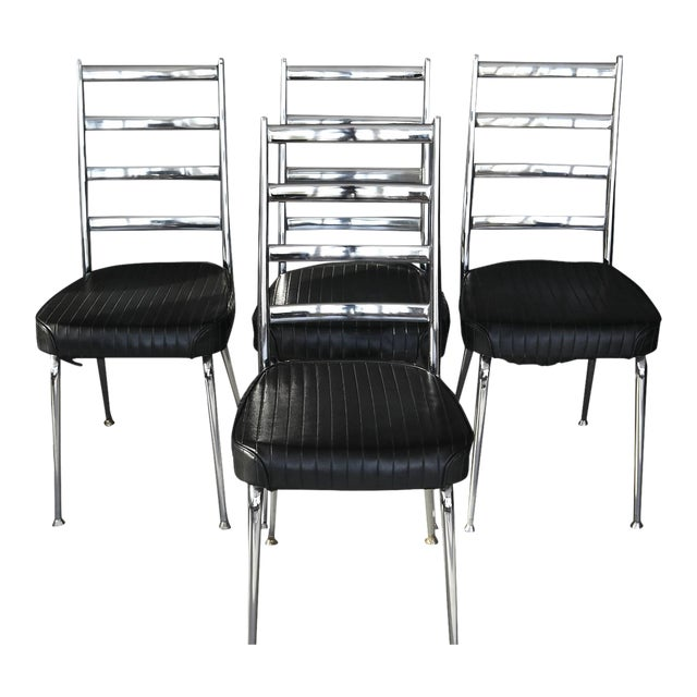 Set of Four Chromecraft Dining Chairs - Image 1 of 8