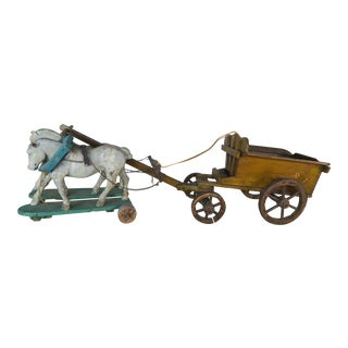 French Painted Horses Pulling Work Cart C. 1900 For Sale