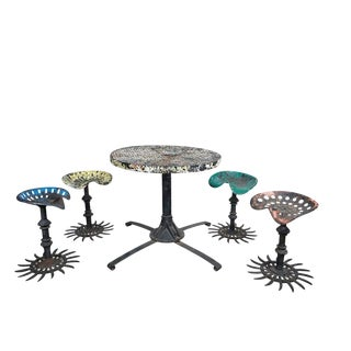Folk Art Table and Stool Set For Sale