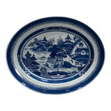 Image of 19th Century Chinese Export Porcelain Blue and White Platter For Sale