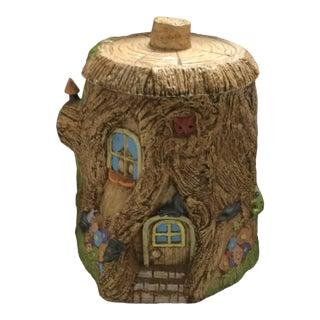1980s Fairy House Tree Stump Cookie Jar For Sale