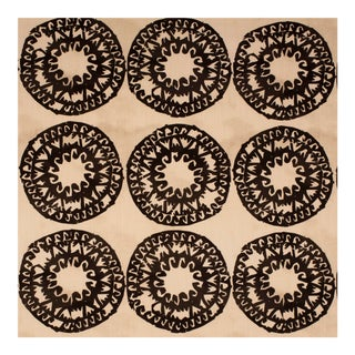 Justina Blakeney Lakai Printed Cotton and Linen Fabric, Graphite For Sale