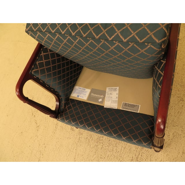 Vintage Thomasville Mahogany Sheraton Upholstered Club Chair For Sale - Image 9 of 11