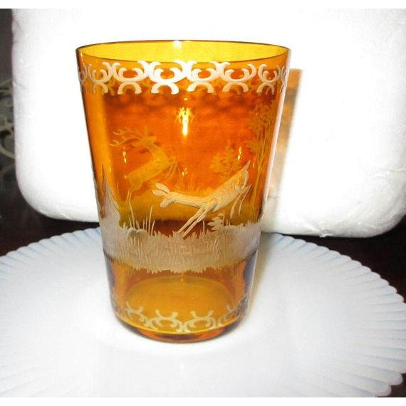 Czech Etched Amber Glass Tumbler - Image 4 of 7