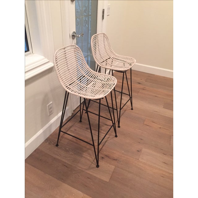 Rattan & Iron Barstools - A Pair - Image 2 of 6