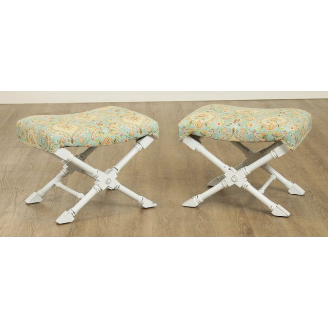 High Quality Custom Upholstered White Lacquered Solid Wood Pair of Benches Store Item#: 27489