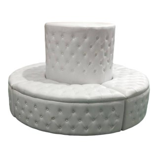 Leather Tufted Circular Banquette For Sale