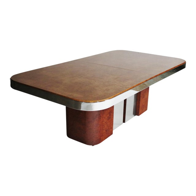 Burl Wood and Steel Dining Table For Sale