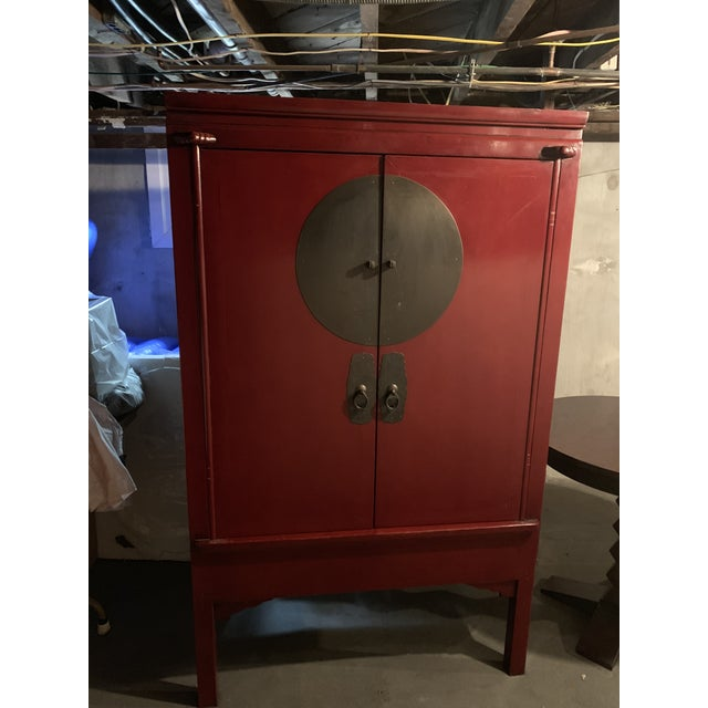 2000s Vintage Chinoiserie Red Painted Armoire For Sale - Image 5 of 5