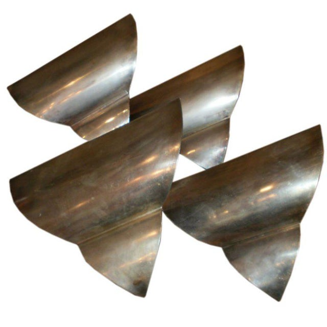 1930s French Art Deco Triangular Form Steel Sconces, Set of Four For Sale - Image 5 of 5