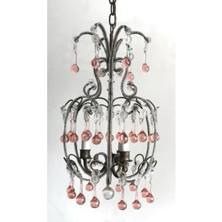 Vintage Italian Beaded Chandelier With Pink Murano Drops Preview