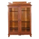 Image of Antique Horner Bros, School Carved Oak Double Glass Door Bookcase, Circa 1910 For Sale