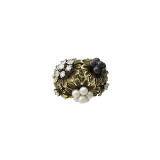 Vintage 18k Gold Diamond & Cultured Pearl Floral Cocktail Ring For Sale