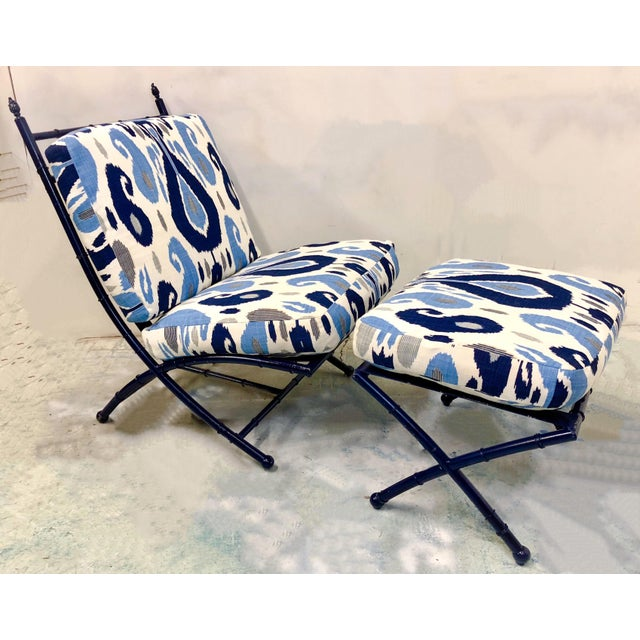 Faux Bamboo Chair & Ottoman - Image 5 of 5