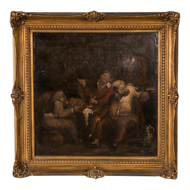 19th Century Antique Original Men Drinking in a Tavern French Oil Painting For Sale