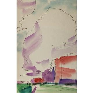 Jose Trujillo Western Art Clouds Original Watercolor Painting Study Medium Size For Sale